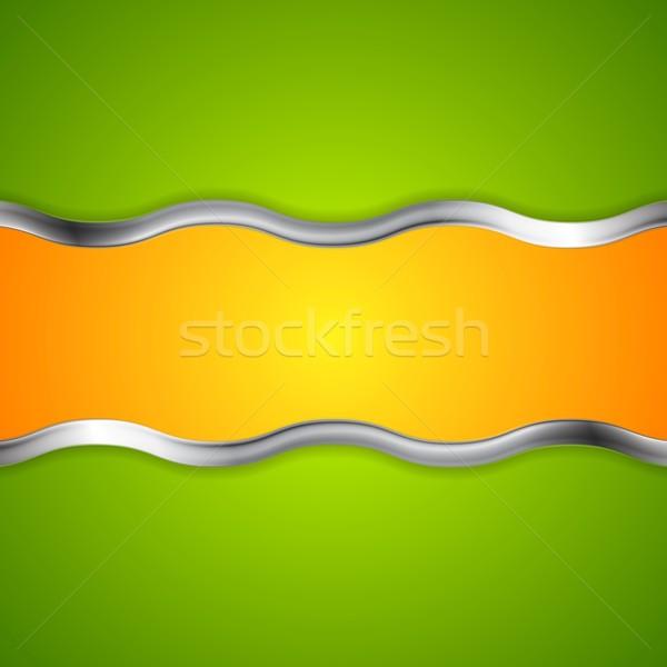 Streszczenie jasne metaliczny fale wektora projektu Zdjęcia stock © saicle