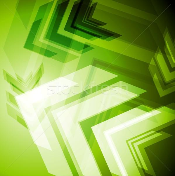 Hi-tech green arrows abstact background Stock photo © saicle