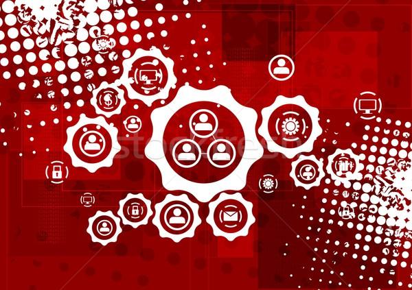 Rood grunge vector communicatie iconen versnellingen Stockfoto © saicle
