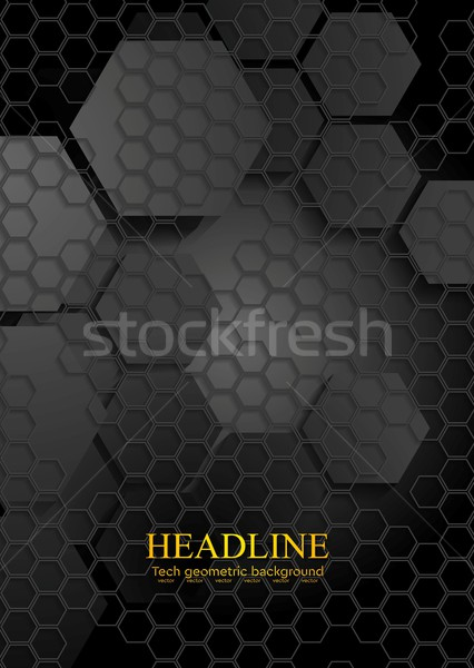 Tech geometryczny czarny sześciokąt tekstury wektora Zdjęcia stock © saicle