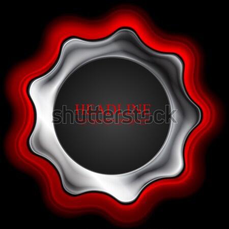 Brilhante vermelho metal engrenagem logotipo vetor Foto stock © saicle