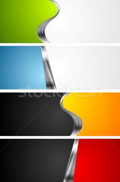 Сток-фото: аннотация · ярко · Баннеры · металл · Элементы · зеленый