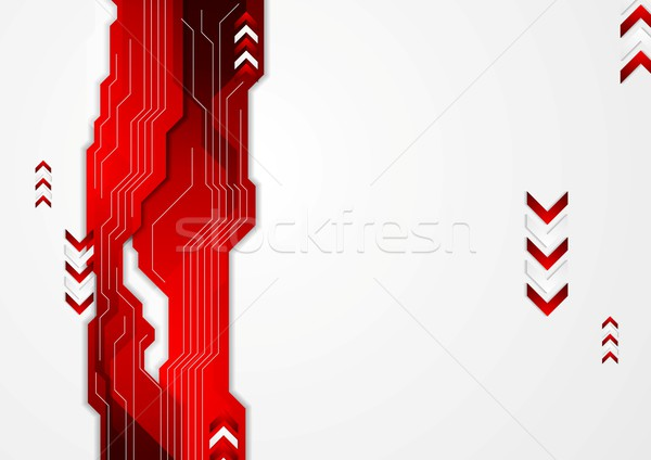 Hi-tech red abstract background with arrows Stock photo © saicle