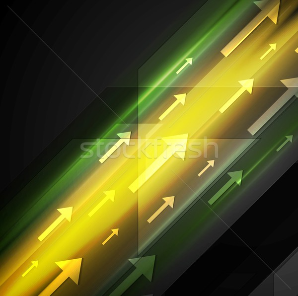 Glowing yellow and green hi-tech background with arrows Stock photo © saicle