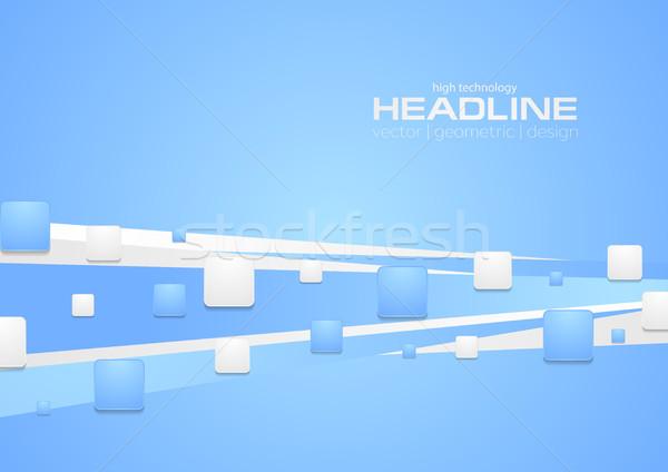Niebieski streszczenie tech minimalny geometryczny wektora Zdjęcia stock © saicle