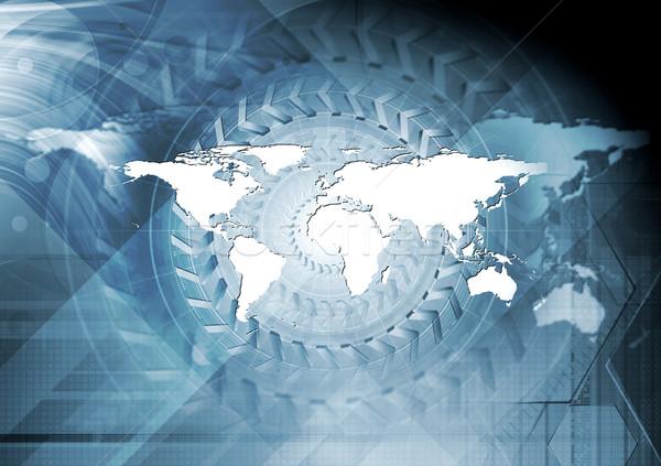 Blauw ontwerp abstract wereldkaart licht wereld Stockfoto © saicle