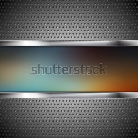 Blurred banner and perforated metal texture Stock photo © saicle