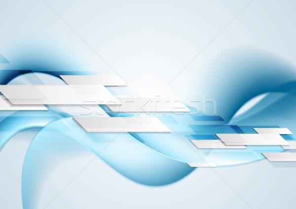 Niebieski błyszczący ruchu fale wektora projektu Zdjęcia stock © saicle
