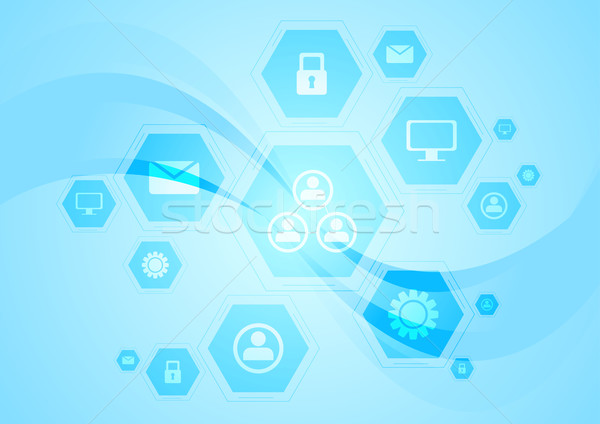 Blue hi-tech wavy background Stock photo © saicle