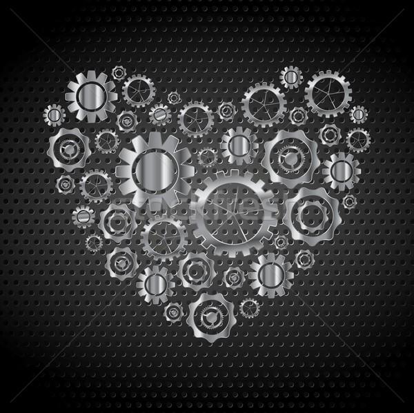 Love heart from tech metallic gears Stock photo © saicle