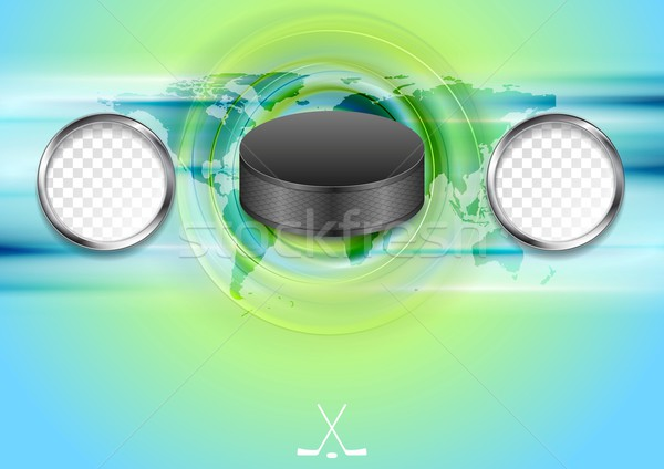 Bright abstract hockey background with black puck Stock photo © saicle