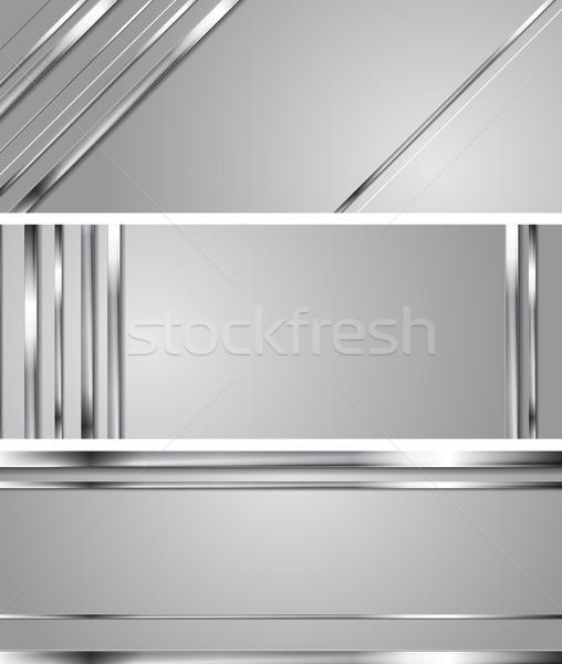 Minimalny streszczenie technologii srebrny wektora metaliczny Zdjęcia stock © saicle
