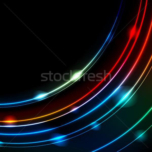 Neon izzó ív vonalak absztrakt vektor Stock fotó © saicle