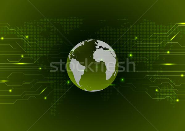 Abstract tecnologia circuito buio verde vettore Foto d'archivio © saicle