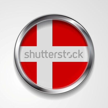 Abstract button with metallic frame. Danish flag Stock photo © saicle