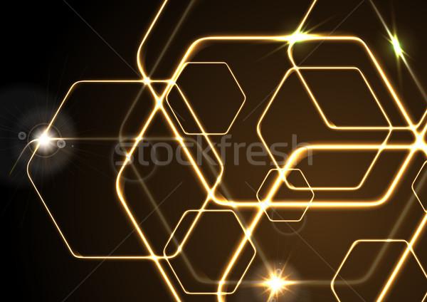 Turuncu neon vektör soyut şablon Stok fotoğraf © saicle