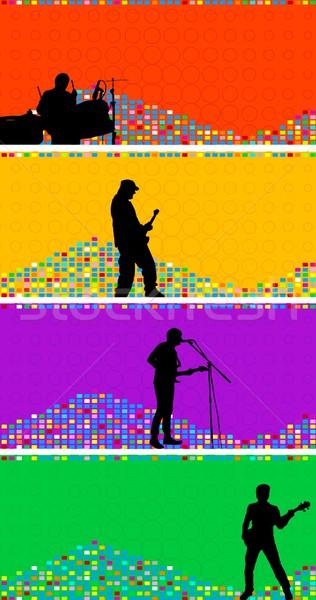 Set colorato musicisti rock band texture Foto d'archivio © saicle