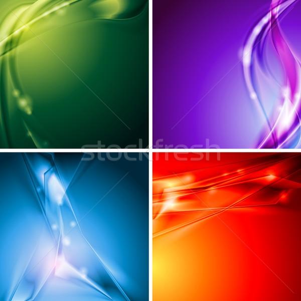 Színes vektor hátterek szett absztrakt modern Stock fotó © saicle