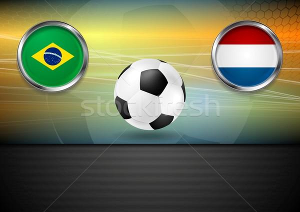 Végső futball Brazília Hollandia 2014 vektor Stock fotó © saicle