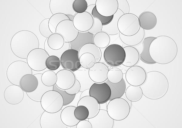 Abstract grijs cirkels retro vector grafisch ontwerp Stockfoto © saicle