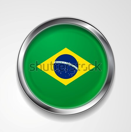 Abstract button with stylish metallic frame. Brazilian flag Stock photo © saicle