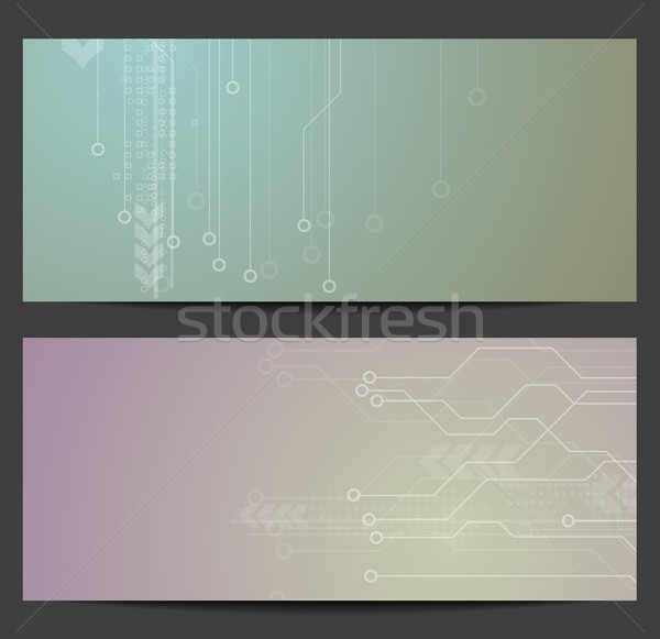 Abstract tech circuit board banners vector ontwerp Stockfoto © saicle