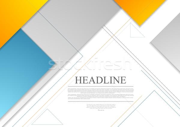 Minimalny tech geometryczny broszura wektora projektu Zdjęcia stock © saicle