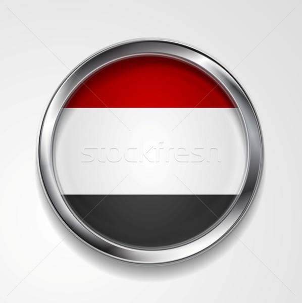 República Iémen metal botão bandeira vetor Foto stock © saicle