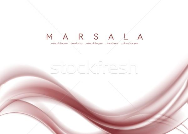 Smooth marsala waves on white background Stock photo © saicle