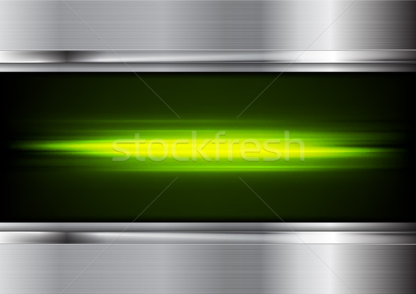 Green glowing neon stripes and metal background Stock photo © saicle