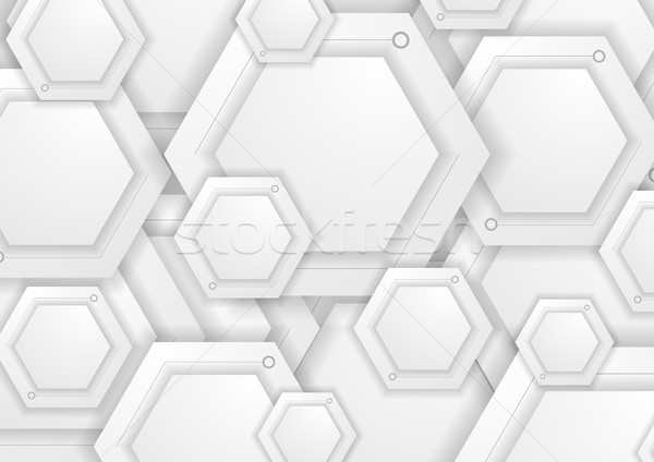 Abstract grey paper hexagons tech background Stock photo © saicle