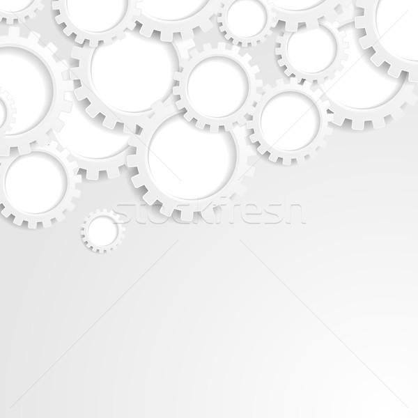 Absztrakt szürke tech papír sebességváltó mechanizmus Stock fotó © saicle