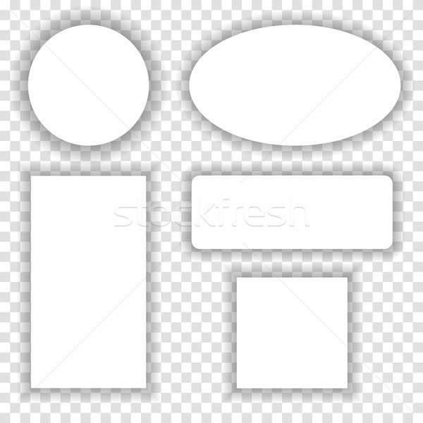 Blanche papier cadres ombre à carreaux transparent Photo stock © saicle