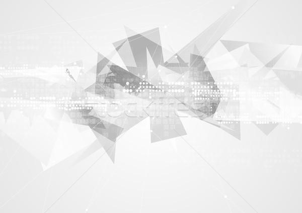 Gri teknoloji geometrik çokgen soyut vektör Stok fotoğraf © saicle