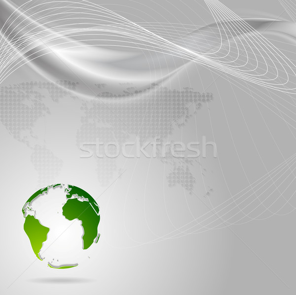 Concept technology background with waves and globe Stock photo © saicle
