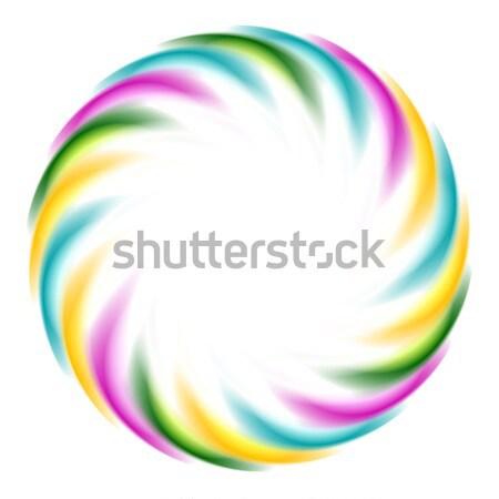 Colorful iridescent round logo on white background Stock photo © saicle