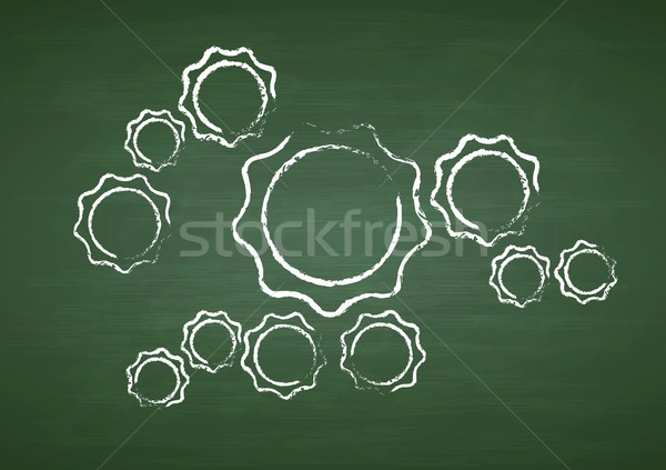 Tech gears on green chalkboard Stock photo © saicle