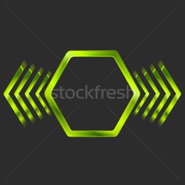 Streszczenie zielone metal sześciokąt Zdjęcia stock © saicle