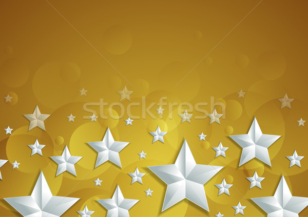 Abstract shiny golden background with silver stars Stock photo © saicle