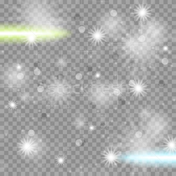 Fényes csillagos átlátszó pezsgő hatás vektor Stock fotó © saicle