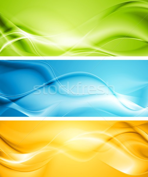 Elegant smooth waves vector banners Stock photo © saicle