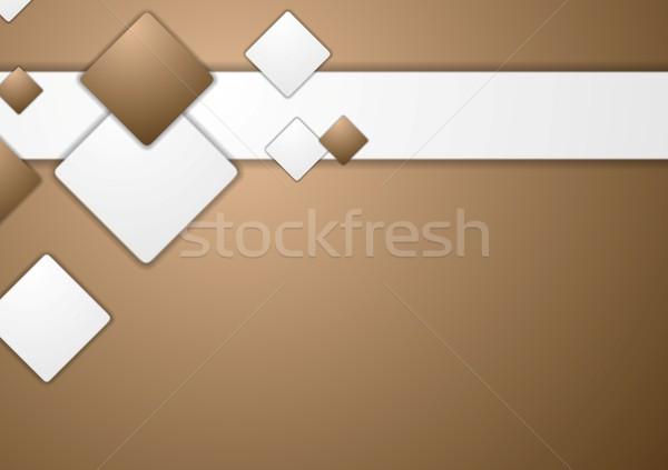 Abstract tech bruin vector ontwerp textuur Stockfoto © saicle