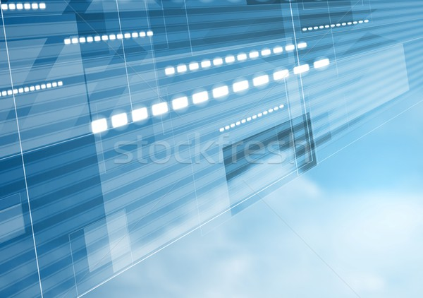 Abstract tech motion design with cloudscape Stock photo © saicle