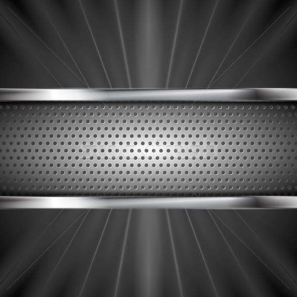 Metallic aluminum perforated banner and dark beams Stock photo © saicle