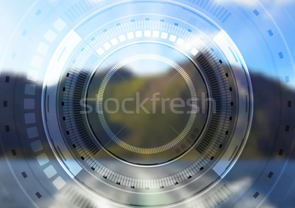 Hi-tech landscape background with HUD interface Stock photo © saicle