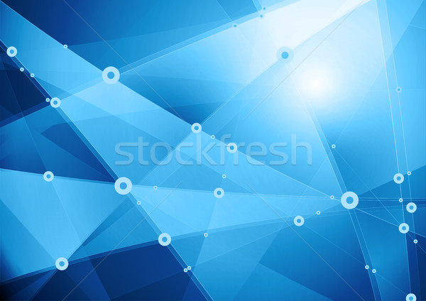 Abstract low poly tech communication background vector