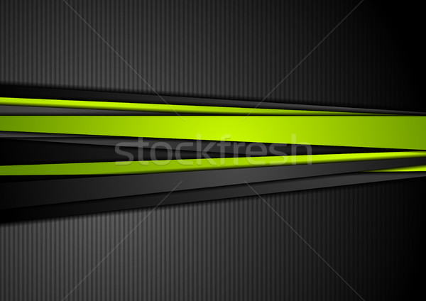 Tech black background with contrast green stripes Stock photo © saicle