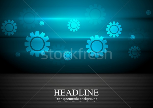 Contrast blue and black tech background with gears Stock photo © saicle