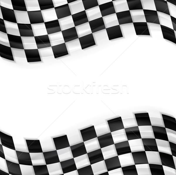 Afwerking golvend vlag ontwerp zwart wit pleinen Stockfoto © saicle