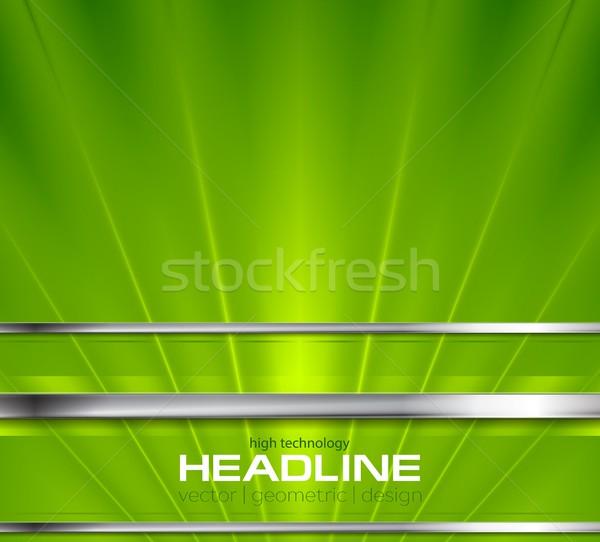 Bright green beams and silver stripes design Stock photo © saicle